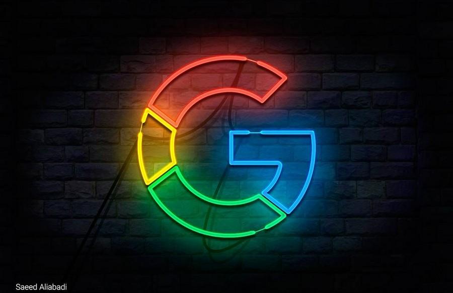 لوگوی نئونی G (طرح منتخب توسط کمپانی گوگل)